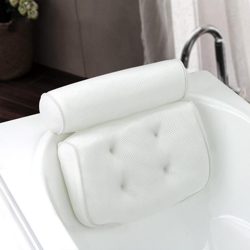 SAFEBET Thickened Bath Pillow Soft SPA Headrest Bathtub Pillow With Backrest Suction Cup Neck Cushion Bathroom