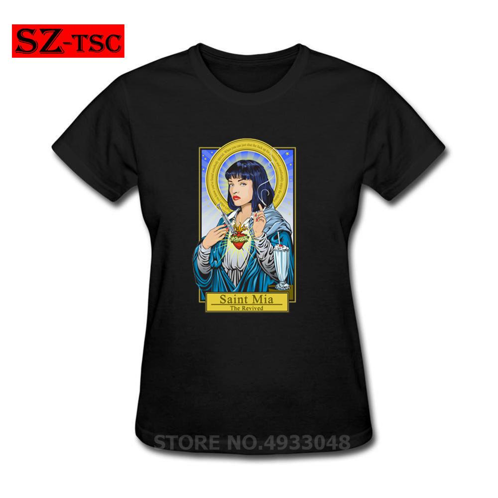 Saint <font><b>Mia</b></font> The Revived pulp fiction Women T-Shirts Cool <font><b>Black</b></font> Summer Clothing Custom Racer Tops Moto Biker Tee Cotton <font><b>Tshirt</b></font> 2019 image