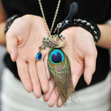 Exquisite Women Necklace Vintage Style Bronze Blue Peacock Stone Sequin Pendant Long Necklace Jewelries Professional Necklace(China)