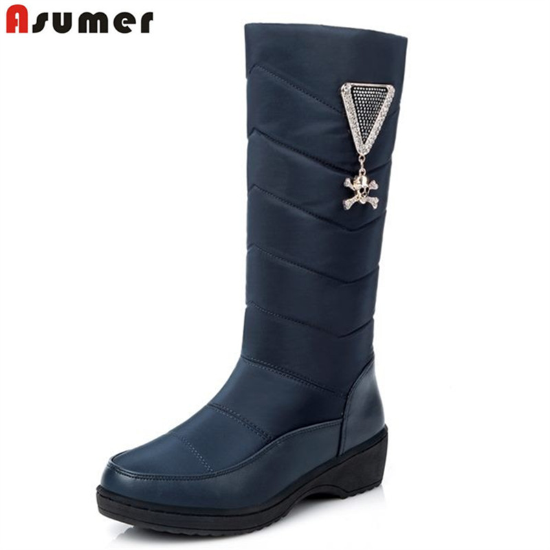ASUMER Fashion keep warm down thick fur women snow boots platform shoes footwear mid calf half winter boots women botas ekoak new 2017 winter boots fashion women boots warm plush mid calf boots ladies platform shoes woman rubber leather snow boots