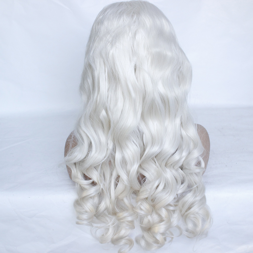 Fashion Platinum Blonde Synthetic Lace Front Wigs Heat Resistant Long Loose Body Wave White Blonde Wigs Cosplay for White Women-6