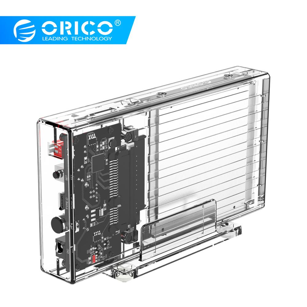 ORICO 2 Bay 2.5'' HDD Case With Raid Function SATA To USB C Transparent HDD Case 10Gbps Support UASP For 7-9.5 Mm HDD SSD 8TB