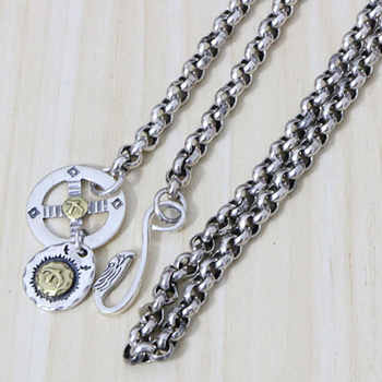 S925 Sterling Silver Takahashi Goro Roulette With Chain Hook O-chain Rough Long Sweater Necklace Retro Thai Silver Men And Women - DISCOUNT ITEM  0% OFF All Category