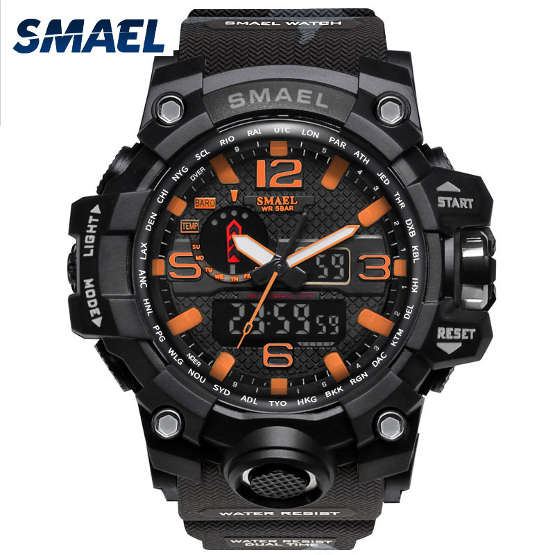 Orange Camouflage Military Watches SMAEL Brand Watch Digital LED Wristwatch Sport 1545B Mens Watch LuxuryClock Men Military Army smael 1708b