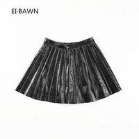 2018 новые весенние юбки женские черные винтажные с высокой талией черные кожаные сексуальные короткие мини юбки корейский стиль плиссирова