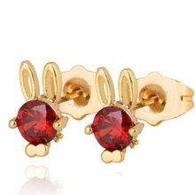 Детские серьги гвоздики с милыми животными желтое золото красный