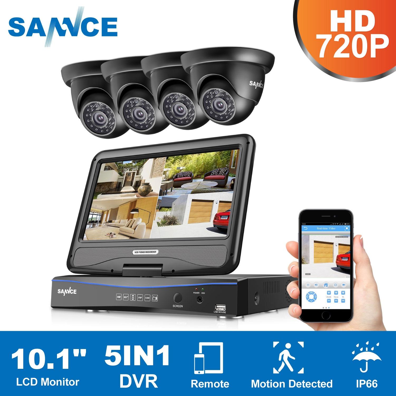 SANNCE 8CH 1080N HD 10.1inch Displayer DVR 4PCS 1.0MP 720P Dome CCTV Cameras Night Vision System Video Surveillance System KitSANNCE 8CH 1080N HD 10.1inch Displayer DVR 4PCS 1.0MP 720P Dome CCTV Cameras Night Vision System Video Surveillance System Kit