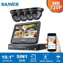 SANNCE 8CH 1080N HD 10,1 zoll Displayer DVR 4 STÜCKE 1.0MP 720 P Dome-überwachungskameras Nachtsicht System Video Überwachungssystem Kit