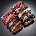 H bracelet bangles Fashion 10 colors Hip Hop H Charm Leather bracelet Bangle Wide  men and women punk rivet