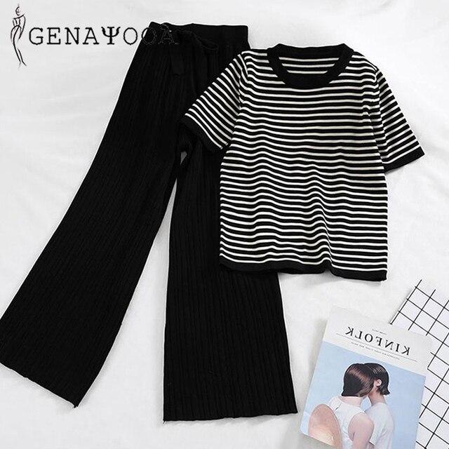 Genayooa Knitted Autumn Office Lady 2 Piece Set Women Pants Elastic Waist Striped O-neck Tshirt Two Piece Set Pants 2019 2