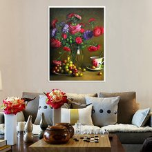 Still Life Oil Painting for Living Room Wall Decorative Red Flowers Fruits Hand Painted Sofa & Home Decor Printed Christmas Gift