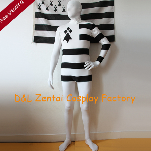 Free Shipping DHL Adult France Bretagne White Black Stripes Spandex Zentai Suit Leotard For Events and Halloween Party Plus Size