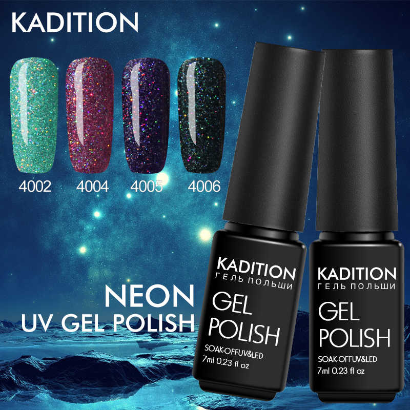 Kadition 7 Ml Neon Warna Seri 1 Pcs Uv Gel Kuku Gel Polandia untuk Polishing Gellak Cat Kuku Pernis semi Permanen Pernis