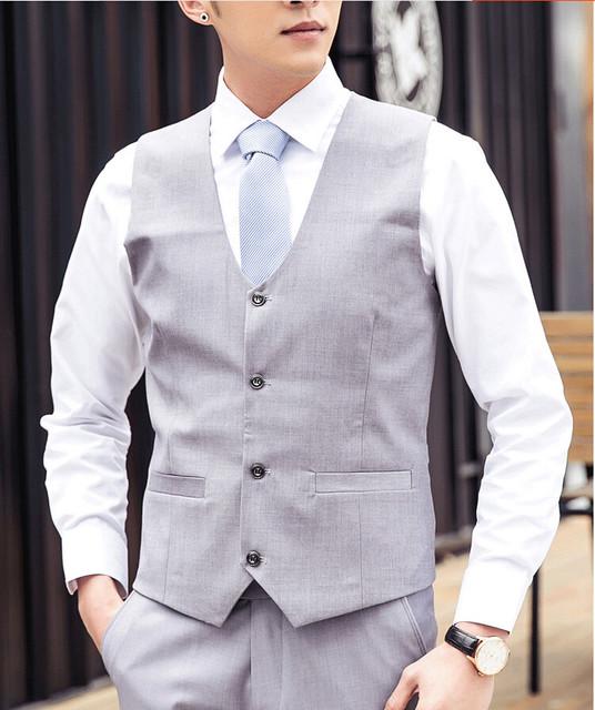 2017 Coletes À Prova de Homens Cinza Azul Branco Outerwear Colete Mens Suits Casual Slim Fit Dos Homens À Moda do casamento Com Decote Em V Colete
