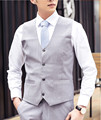 2017 Men Vests Grey White Blue Outerwear Mens Vest Mens Casual Suits Slim Fit Stylish wedding Mens V-neck Vest