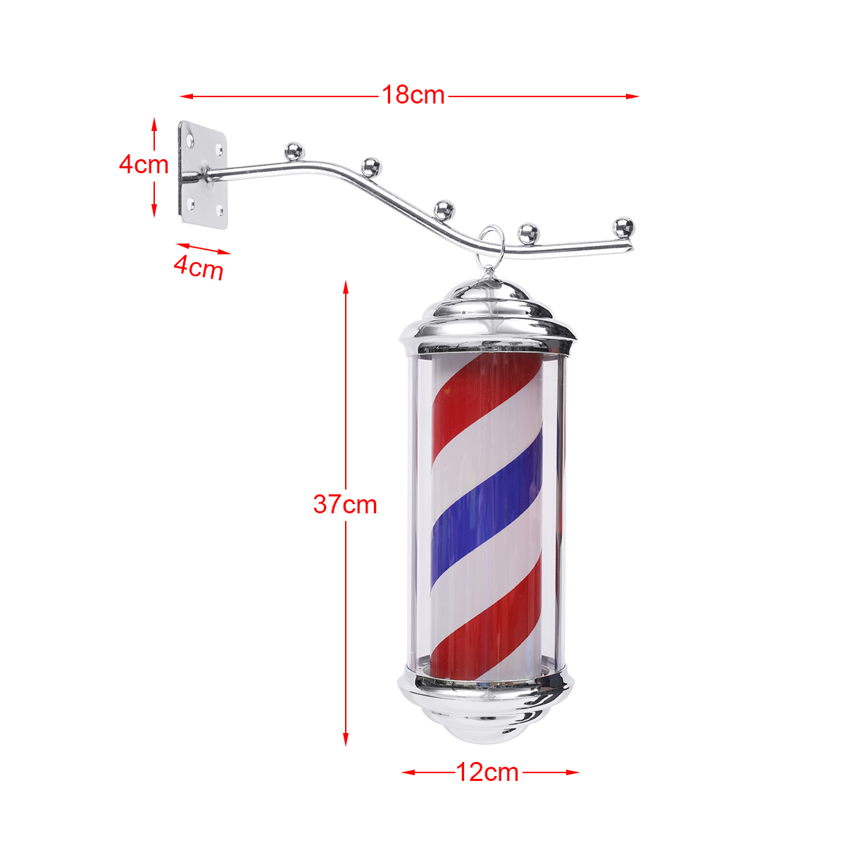 1Pc 35*15*15cm Metal Barber Shop Light Red White Blue Stripes Rotating LED Light Hairdressing Salon Outdoor Sign With 1.5m Cord-in Styling Accessories from Beauty & Health    3