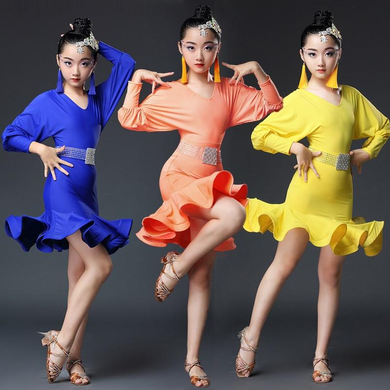 fd2f7263a 2019 Kids Latin Dress Costume Children Competition Ballroom Dance ...
