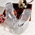 2017 Novos Chinelos de Verão das Sandálias das Mulheres Do Dedo Do Pé Aberto Sapatos Novos Mulher Chinelos Azul/Sliver/Ouro/rosa Sandálias Da Geléia