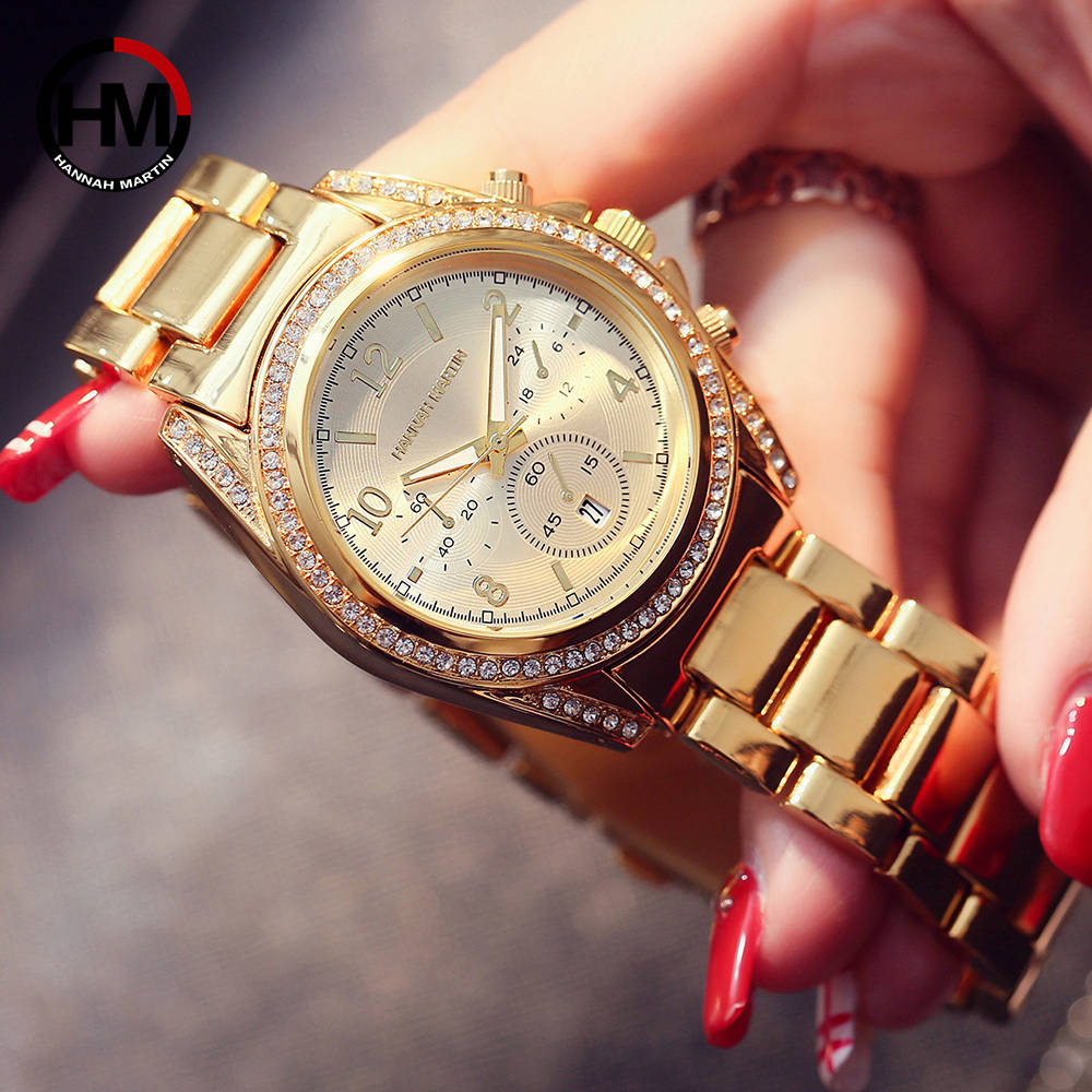 Image 2 - Drop Shipping 1 set Rose Gold Top Luxury Brand Women Rhinestone Watches Femme Calendar Waterproof Fashion Dress Ladies watch-in Women's Watches from Watches