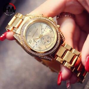 Image 3 - Relógio feminino ouro rosa, 1 conjunto, marca de luxo, relógios, calendário, impermeável, relógio de moda para senhoras