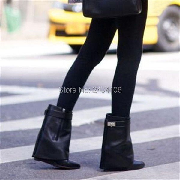 Leather/ Suede Ladies Runway Shoes Motorcycle Botas Pointed Toe Buttoned Strap Ankle Boot Pointed Toe Shark Lock Wedge Boots Leather/ Suede Ladies Runway Shoes Motorcycle Botas Pointed Toe Buttoned Strap Ankle Boot Pointed Toe Shark Lock Wedge Boots