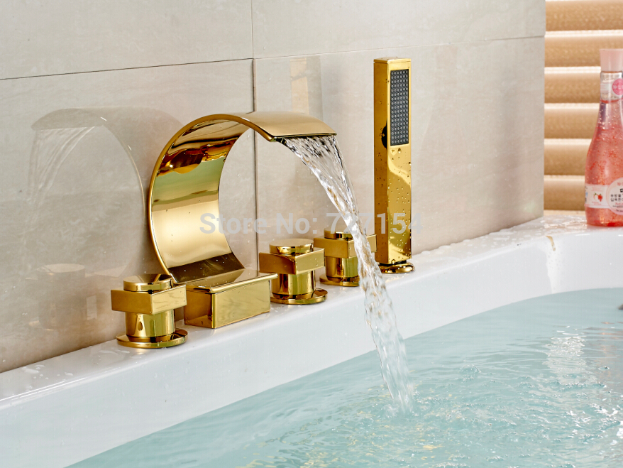 Free shipping! New Golden Finish Bathroom Tub Faucet Waterfall Spout W/ Hand Shower Deck Mount
