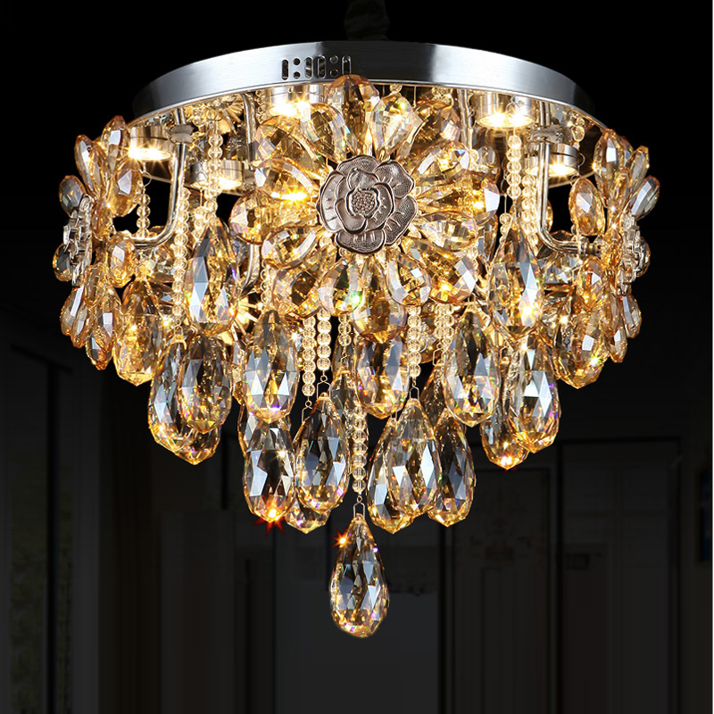 Round Ceiling Chandelier for Dining Room European High-grade Crystal Snuff Flower Lamp Kitchen Led Lamp Bedroom surface lights