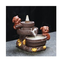 Creative Cute Pig Backflow Incense Burner Smoke Waterfall Holder Censer Ceramics Crafts With 10pcs Cones