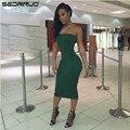 2016 Новая Мода Женщин Сексуальный Коктейль Bodycon Повседневные платья клубные платья Мило Колено Длина Партия Платья Без Бретелек Зеленый Платье Vestidos