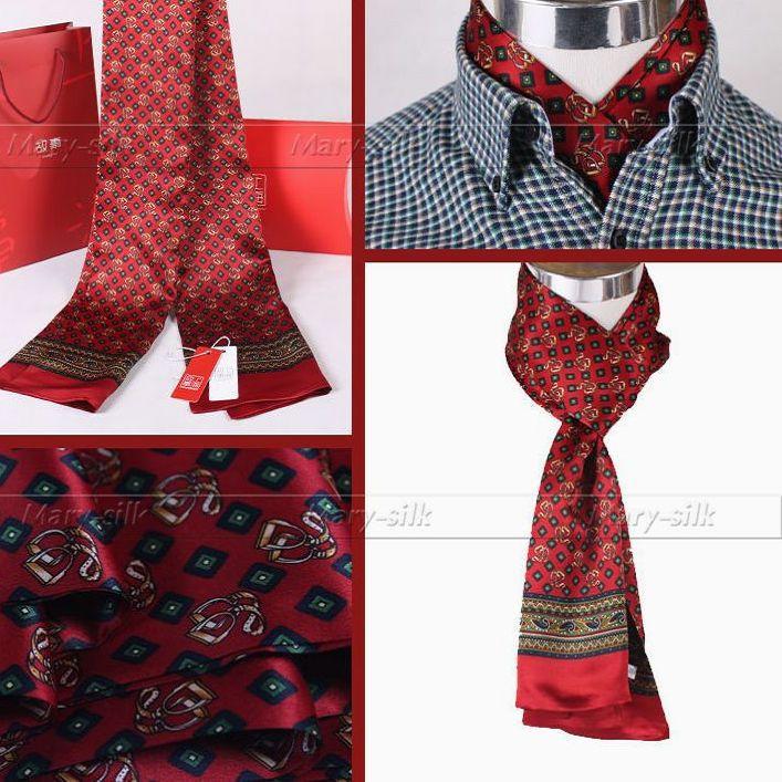 Модные брендовые мужские шелк длинный шарф галстук scarives Слои черный плед_ для Весна-осень-зима - Цвет: Red