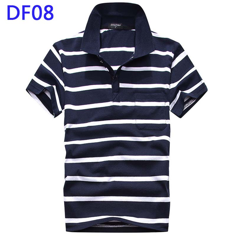 Summer New 2019 Brand Mens Polo Shirt Men Casual Short sleeved Polos Turn Down Collar Striped Cotton Male Polo Shirts Hot Sale in Polo from Men 39 s Clothing
