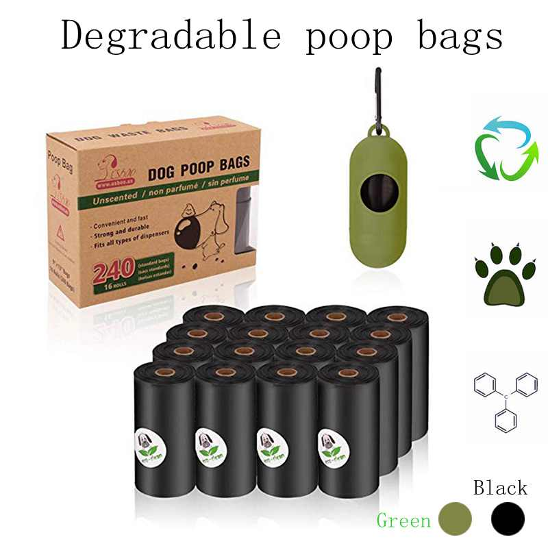 Degradable Pet Dog Poop Bags  Eco-Friendly Cat Waste Bags Dispenser Outdoor Carrier Portable Pick-up Pet Poop Garbage Pet Supply