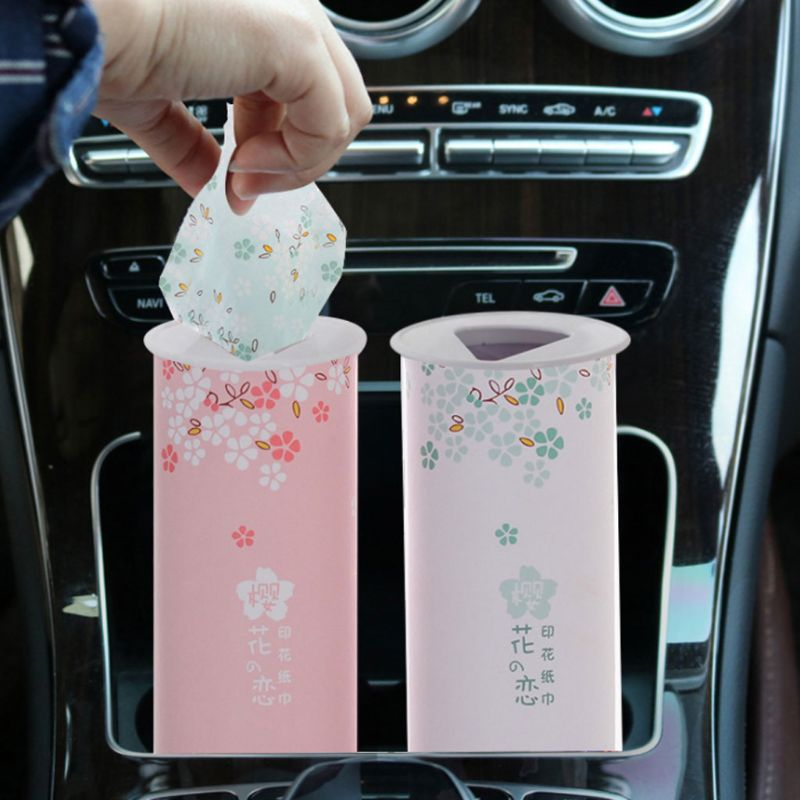 40 Times 3 Ply Disposable Facial Tissues Nordic Style Colored Cheery Blossom Travel Portable Cylinder Box For Office Car Home