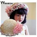 Nueva moda mujeres del sombrero del sol del verano sombrero de paja entre padres e hijos de la flor mujeres Beach Headwear calidad superior YY0215