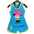 Мальчика одежды костюм хлопка в шляпе дети комплект одежды жилет тонг комплект 0-2years комплект одежды мальчик