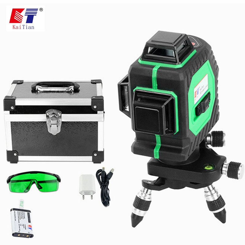 купить KaiTian Green Laser Level Battery Self-Leveling 12Lines 3D 360 Rotary Horizontal Vertical Cross 532nm EU Lasers Beam Line Levels по цене 10875.43 рублей