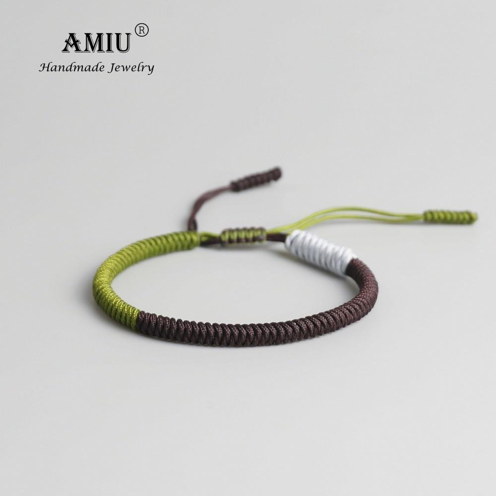 AMIU Tibetan Buddhist Lucky Charm Tibetan Bracelets & Bangles For Woman Men Handmade Knots Black Rope Amulet Bracelet