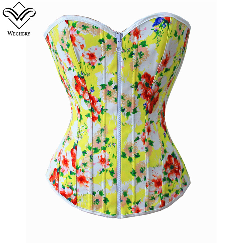 Wechery Top   Bustier   Sexy Style Floral Overbust   Corset   Waist Shaper Shapewear Two Sides Available Costume for Party Club Shows