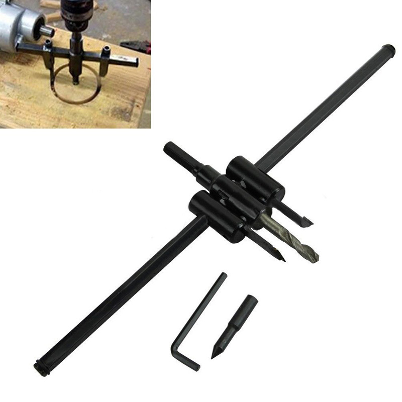 1 Set 30-300mm Adjustable :Black Alloy Steel Metal Wood Circle Cutter Kit Hole Saw Drill Bit DIY Tool New mayitr 30 300mm adjustable drill bit metal wood circle hole saw drill bit cutter kit diy tool new for woodworking