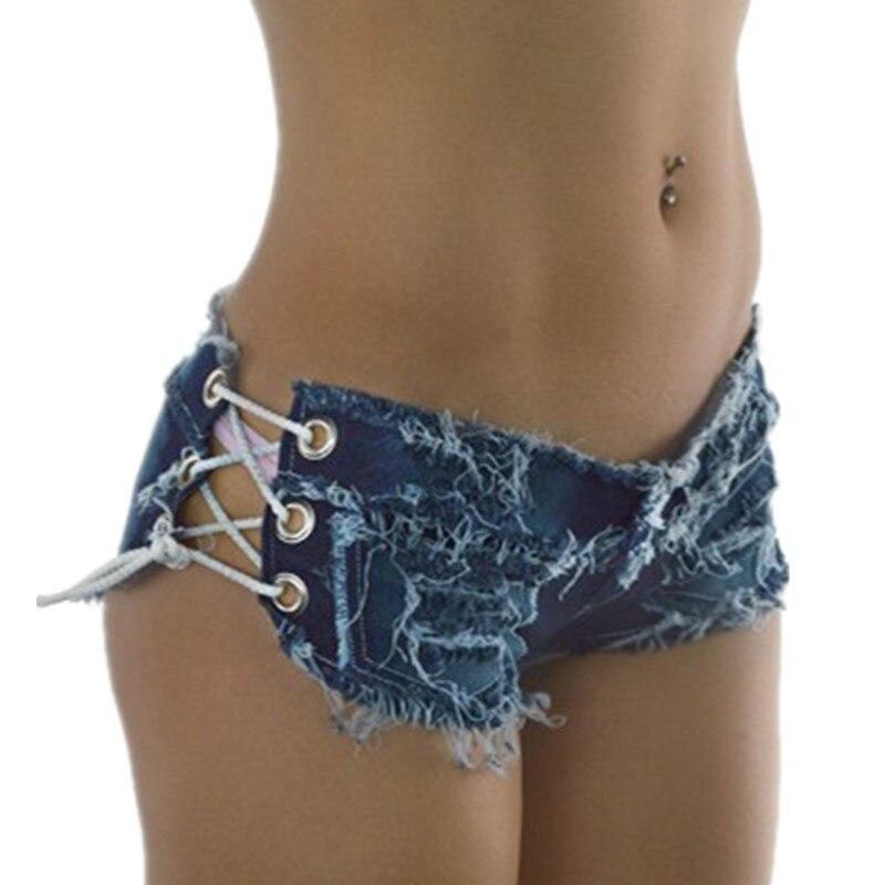 Sexy Summer Women Denim Shorts 2018 New Black Blue High Waist Ripped Short Jeans Femme Tassel Lace Up Bandage Hotpants
