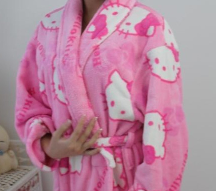 Stunning hello kitty winter coral fleece robe heart womenus long sleeve bathrobes thickening - Robe de chambre hello kitty ...