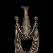 Europe Christmas gifts Outdoor Garden Decoration Large Vase Bronze Sculpture Women Statues Antique Retro Decor Brass Vases