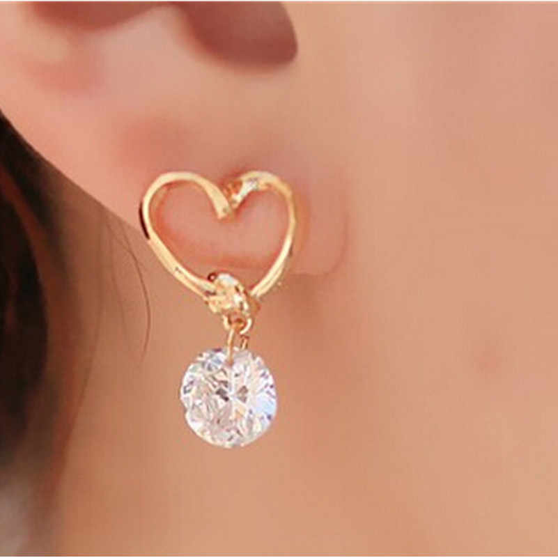 Bijoux Earring Blue Zircon Stud Earrings For Women Earrings Rhinestone Crystal Wedding Jewelry Heart Animal Girl Earrings ne408
