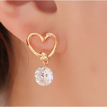 Bijoux Earring Blue Zircon Stud Earrings For Women Earrings Rhinestone Crystal Wedding Jewelry Heart Animal Girl Earrings ne408(China)