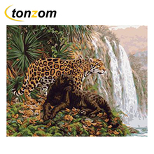 RIHE Secretive Leopard Drawing By Numbers DIY Stream Painting Handwork Cuadros Decoracion Oil Art Coloring Home Decor