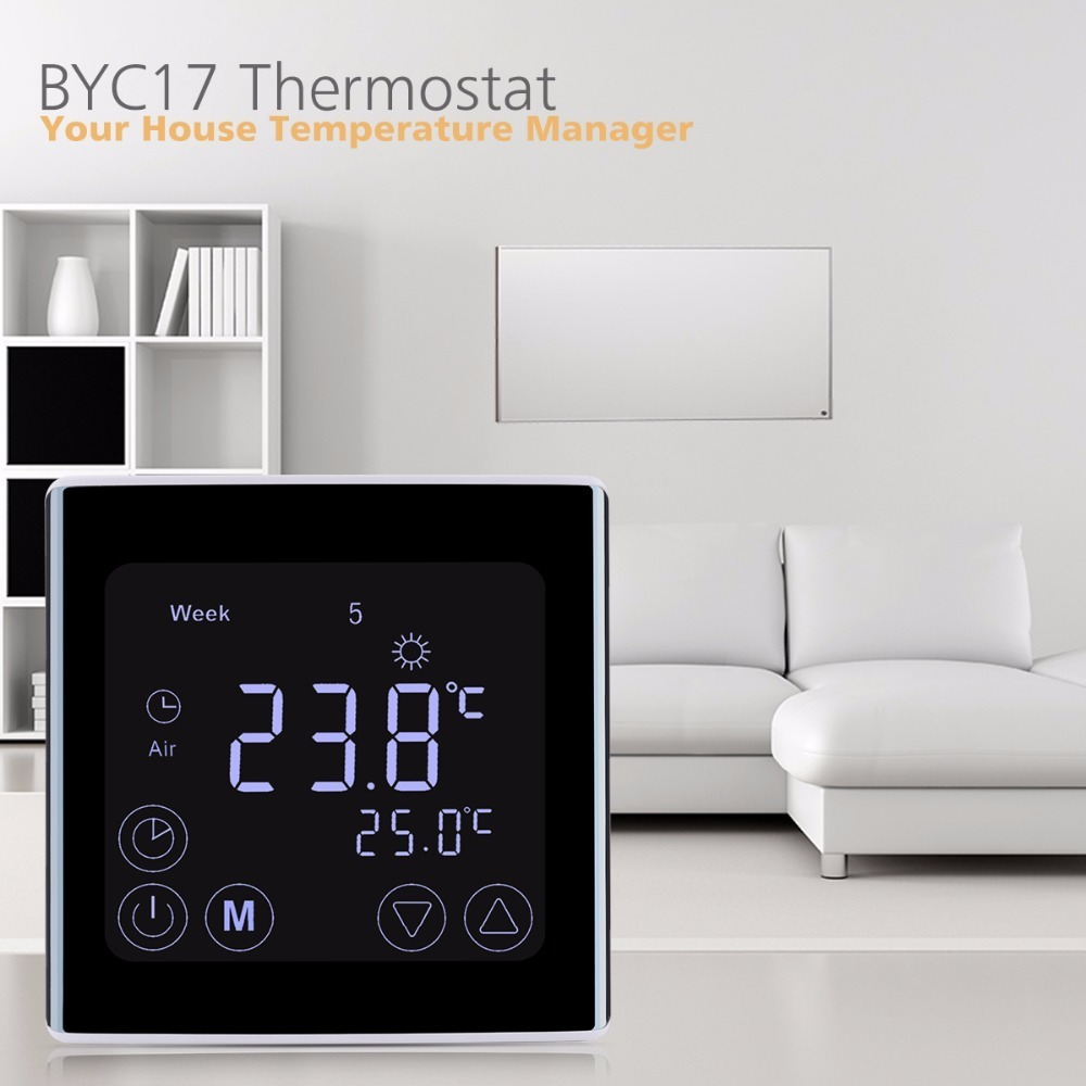 Floureon BYC17GH3 LCD Touch Screen Room Underfloor Heating Thermostat Weekly Programmable Thermoregulator Temperature Controller weekly programmable underfloor heating thermostat lcd touch screen room temperature controller thermostat white backlight