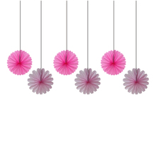 6pcs 30cm Pink And Fuchsia Tissue Paper Fan Party Decoration Chinese Hanging Fans Wedding Bridal Shower Favor Gifts