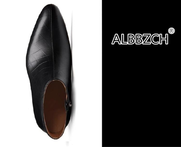 Herfst winter nieuwe heren zwart wit puntschoen genuine leather ankle laarzen hoge hakken mode trouwjurk schoenen mannen werken laarzen - 4