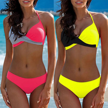2019 New Bikinis Women Swimsuit Halter Top Swimwear Vintage Retro Beach Wear Bathing Suit Brazilian Bikini Set Biquini Female XL