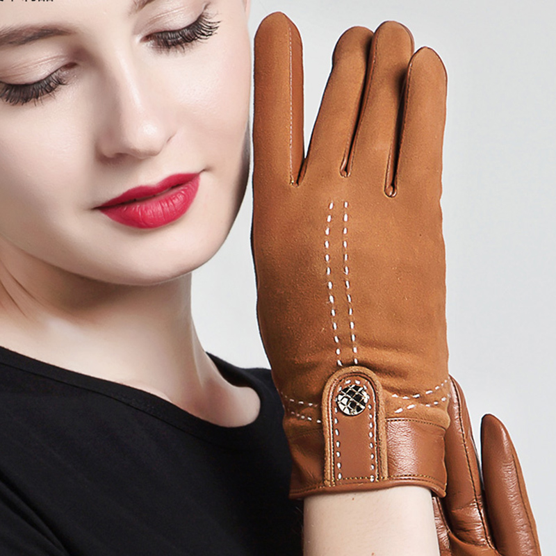 NEW 2020 Genuine Leather Women Gloves Female Elegant Suede Sheepskin Gloves Spring Autumn Winter Touchscreen Optional 3355